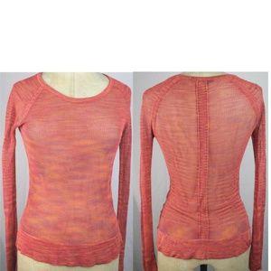 Rag & bone Women's Orange Mesh Long Sleeve Top XS